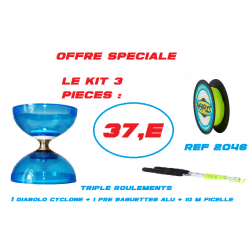 KIT DIABOLO CYCLONE QUARTZ + AV BAG ALU+FICELLE