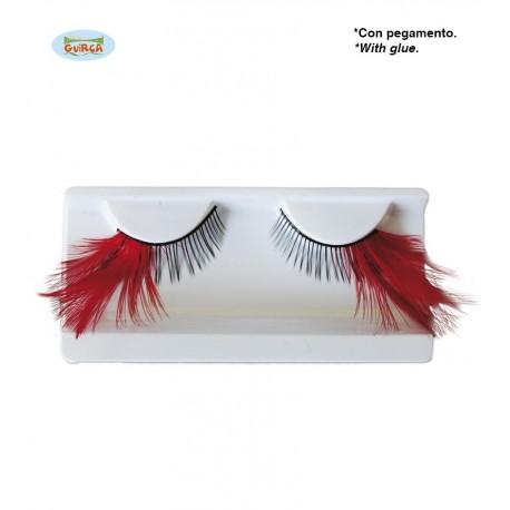 Faux Cils plumes rouges