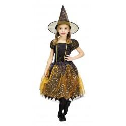 Costume SORCIERE noire et orange étoiles enfant